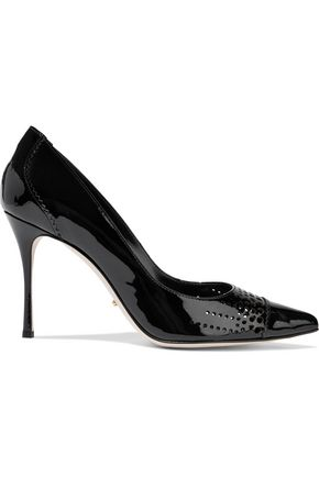 SERGIO ROSSI Perforated patent-leather pumps
