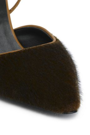 STELLA McCARTNEY Faux fur and leather slingback pumps