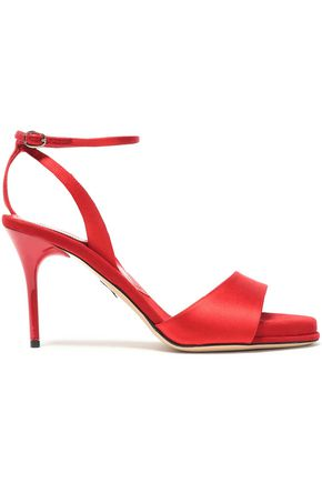 PAUL ANDREW | Paul Andrew Silk-Satin And Suede Sandals | Goxip