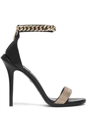 ROBERTO CAVALLI Chain-trimmed leather sandals