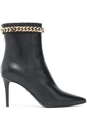 ROBERTO CAVALLI Chain-trimmed leather ankle boots