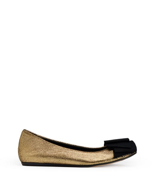 f592544bb5d6 GOLD BALLET FLAT WITH BOW