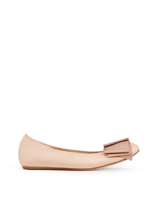 BALLET FLAT WITH BEIGE BOW - Lanvin