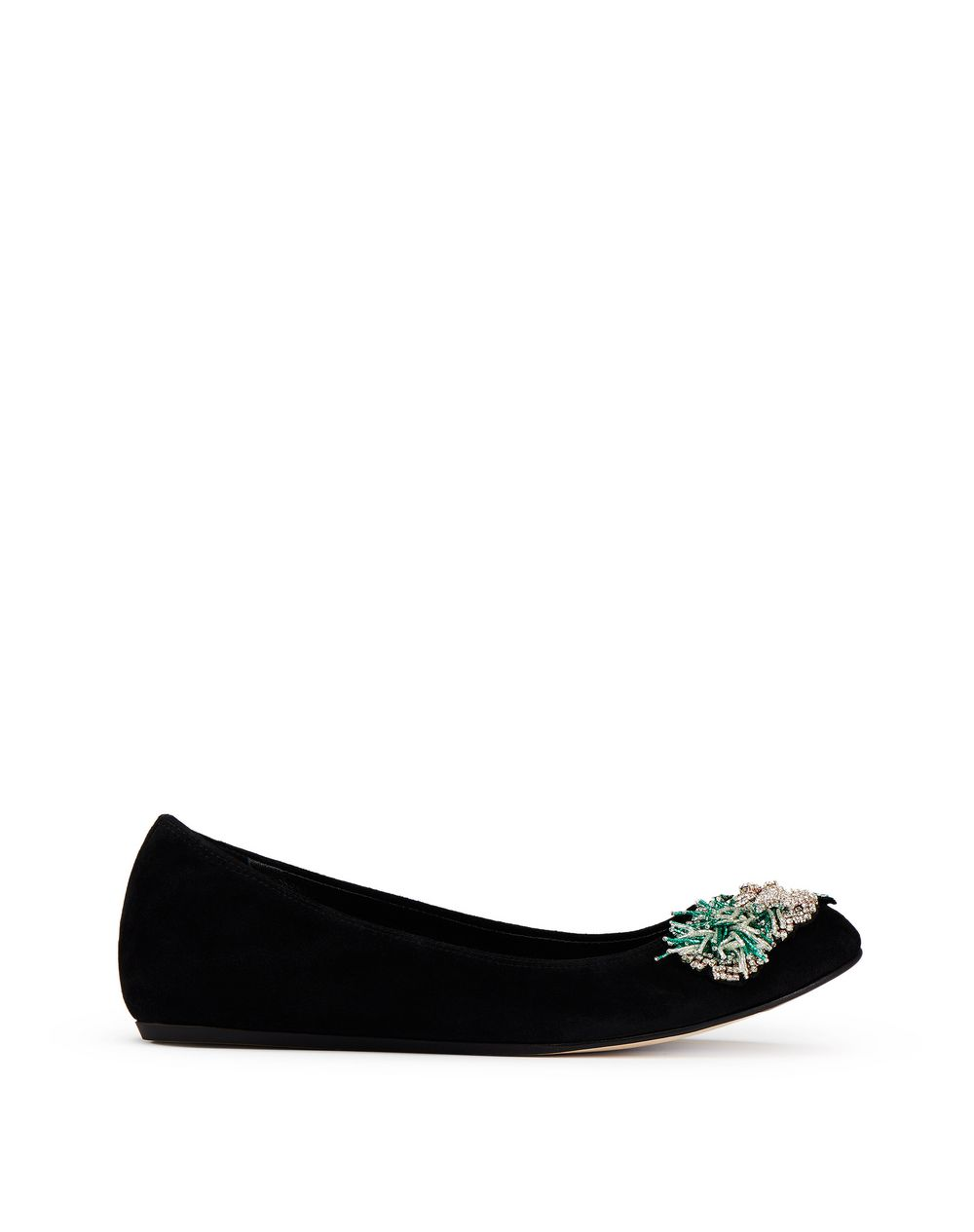 CLASSIC BLACK EMBROIDERED BALLET FLAT  - Lanvin