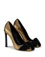 LANVIN Pumps Woman PEEP TOE PUMP WITH GOLD BOW f