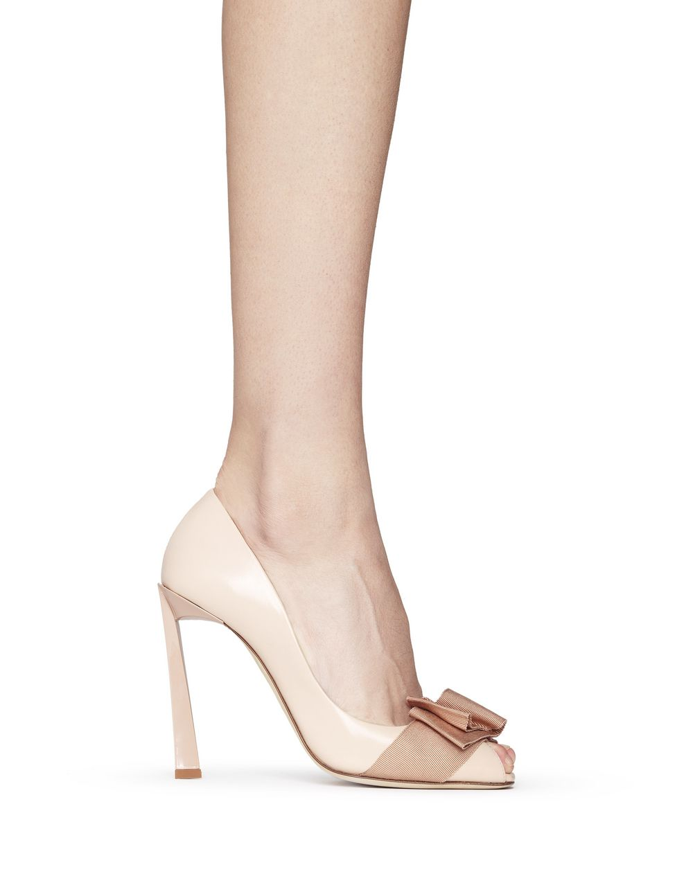 PEEP TOE PUMP WITH BEIGE BOW - Lanvin