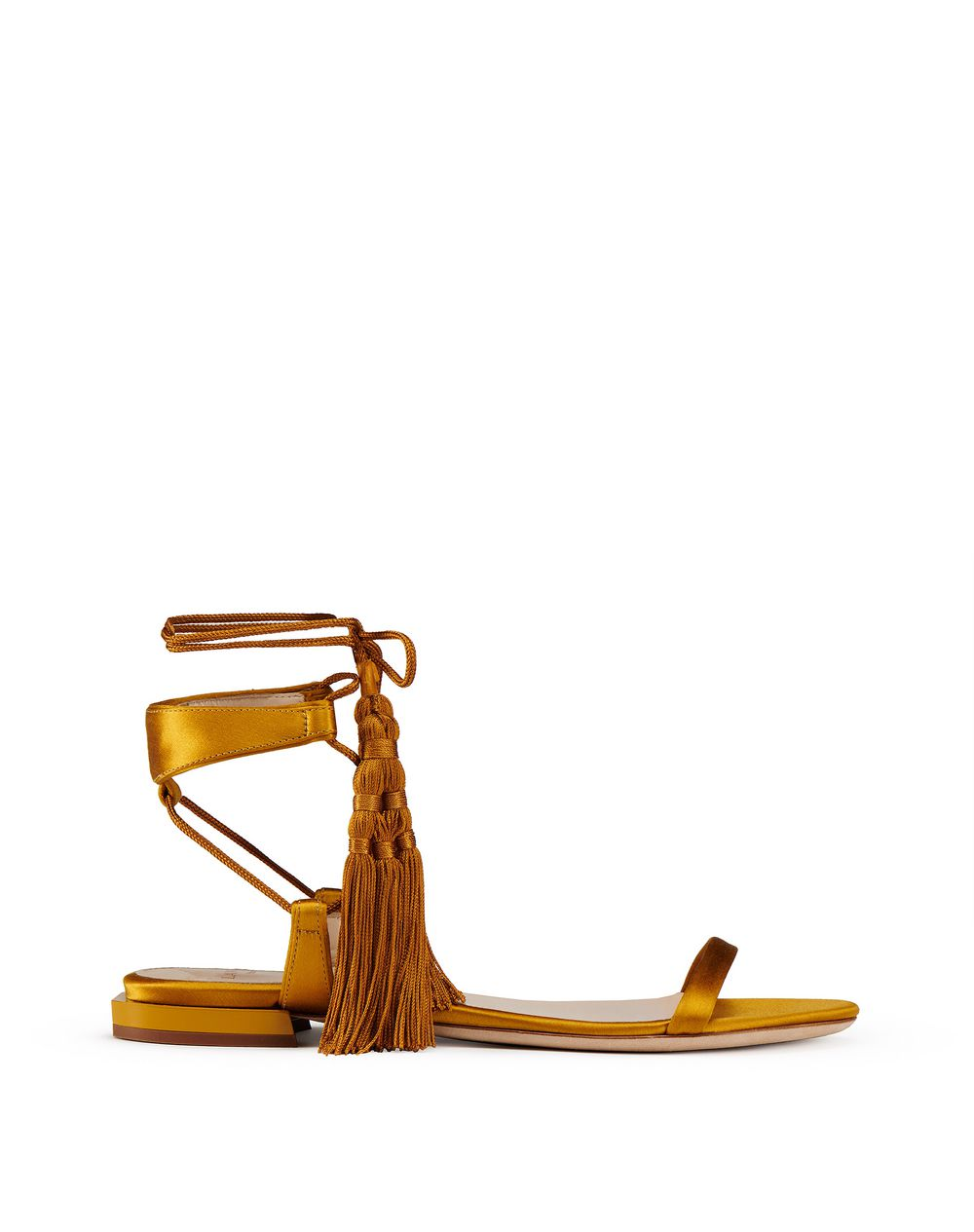 FLAT SATIN SANDAL WITH TASSEL - Lanvin