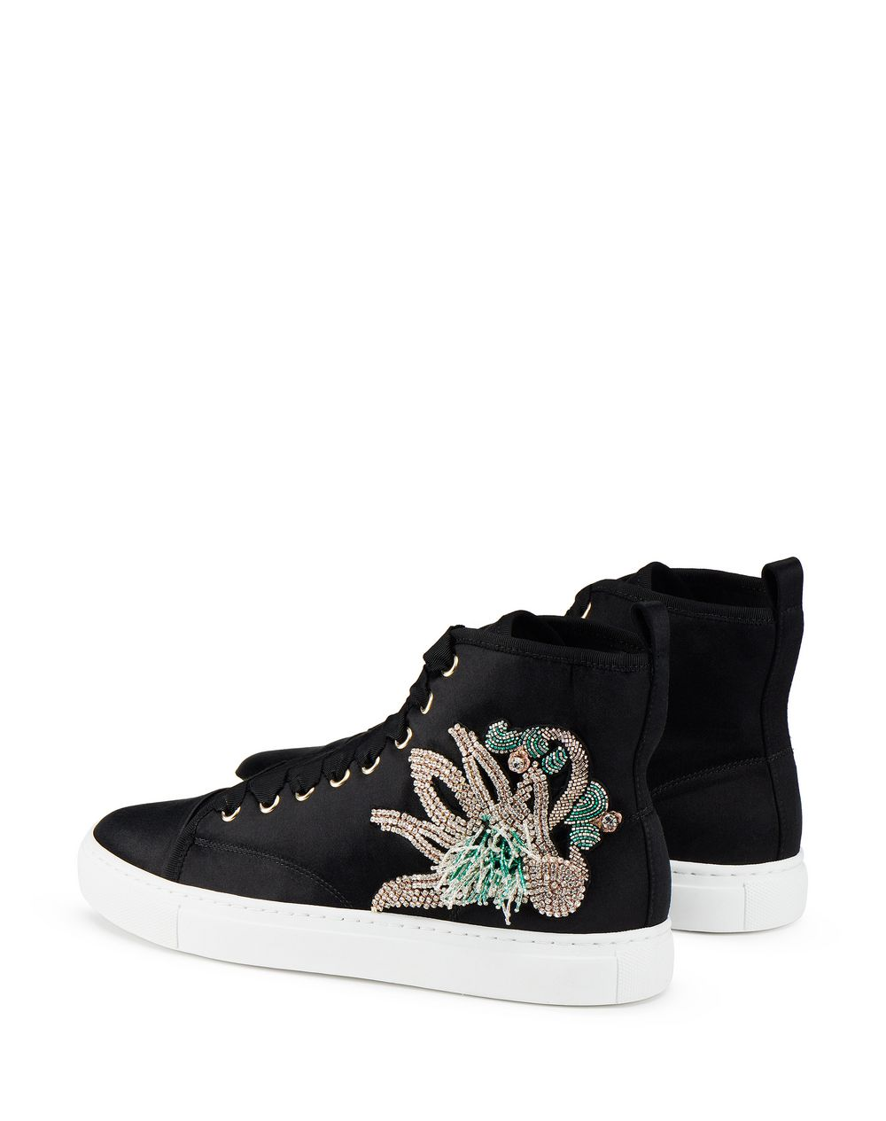 EMBROIDERED SATIN HIGH-TOP SNEAKER - Lanvin