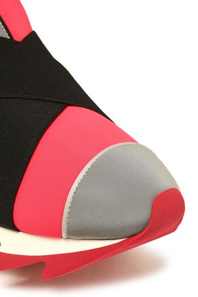 DOLCE & GABBANA Ibiza suede-trimmed neoprene slip-on sneakers