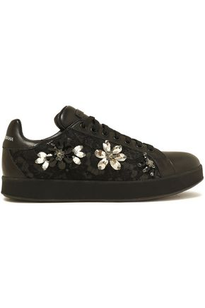DOLCE & GABBANA Crystal-embellished lace-paneled leather sneakers