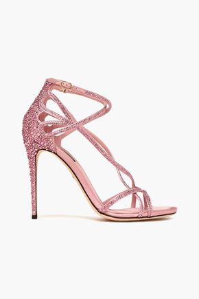 DOLCE & GABBANA Keira crystal-embellished cutout satin sandals