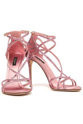 DOLCE & GABBANA Keira crystal-embellished cutout satin sandals