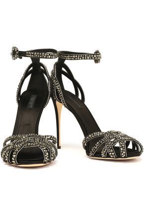 DOLCE & GABBANA Crystal-embellished silk-satin sandals