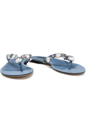 DOLCE & GABBANA Embellished textured-leather sandals