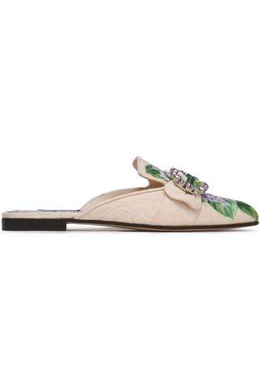 DOLCE & GABBANA Embellished floral-jacquard slippers