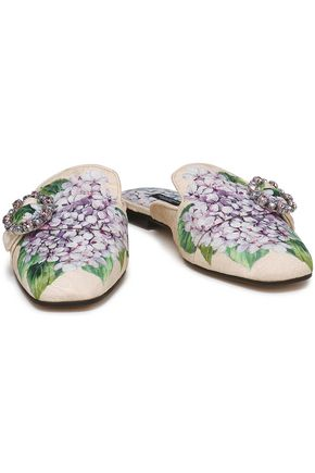 9b91ea9578512 DOLCE   GABBANA Embellished floral-jacquard slippers