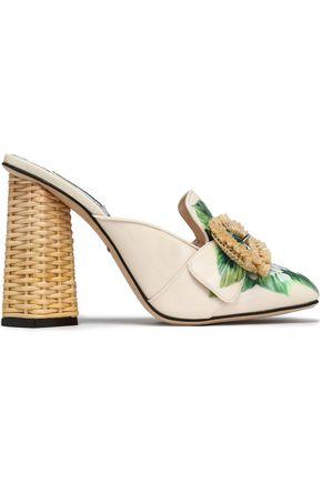 DOLCE & GABBANA Raffia-trimmed floral-print patent-leather mules
