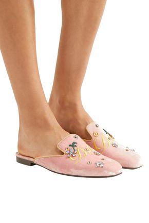 DOLCE & GABBANA Embellished embroidered velvet slippers