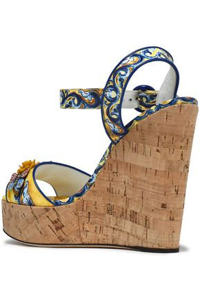 DOLCE & GABBANA Appliquéd printed patent-leather wedge sandals