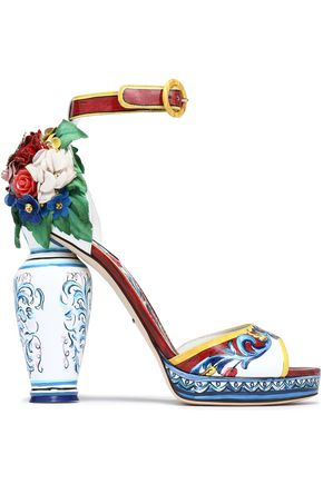 DOLCE & GABBANA Appliquéd printed patent-leather sandals