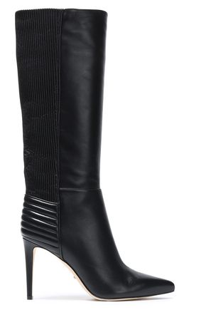 SERGIO ROSSI Paneled glossed-leather boots