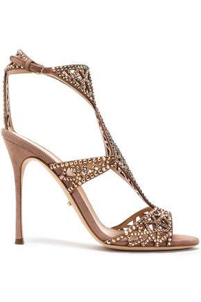 SERGIO ROSSI Crystal-embellished laser-cut suede sandals
