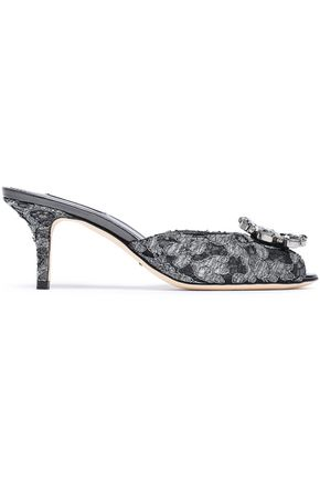 DOLCE & GABBANA Keira crystal-embellished metallic corded lace mules