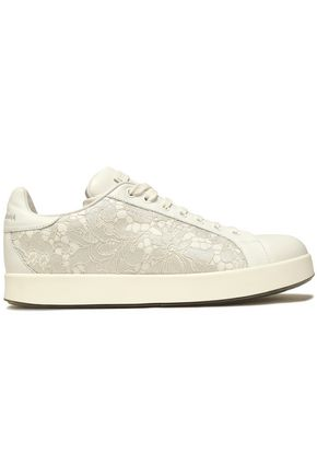 DOLCE & GABBANA Corded lace and leather sneakers