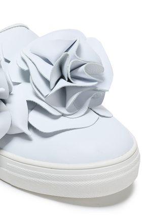 SOPHIA WEBSTER Floral-appliquéd leather slip-on sneakers