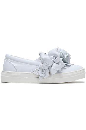 SOPHIA WEBSTER Floral-appliquéd leather slip-on sneakers