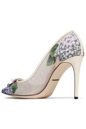 DOLCE & GABBANA Leather-trimmed appliquéd printed mesh pumps