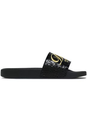 DOLCE & GABBANA Embroidered croc-effect leather slides