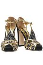 DOLCE & GABBANA Cutout embellished satin and leather pumps