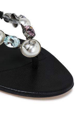 DOLCE & GABBANA Embellished textured-leather sandals