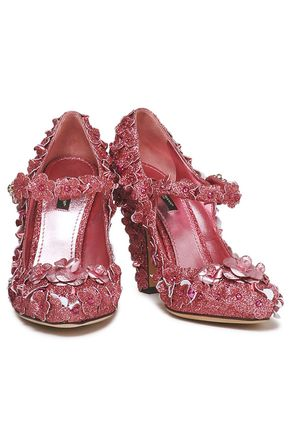 DOLCE & GABBANA Floral-appliquéd glittered leather Mary Jane pumps
