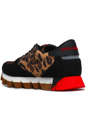 DOLCE & GABBANA Paneled suede, leopard-print shell and woven sneakers