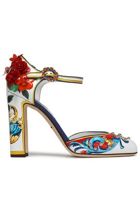 DOLCE & GABBANA | Dolce & Gabbana Floral-Appliquéd Embellished Printed Glossed Leather Pumps | Goxip