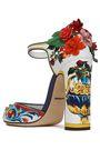 DOLCE & GABBANA Floral-appliquéd embellished printed glossed leather pumps