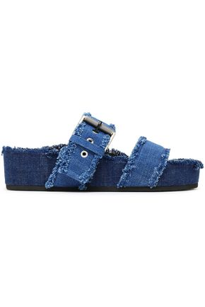 RAG & BONE Buckled frayed denim platform slides