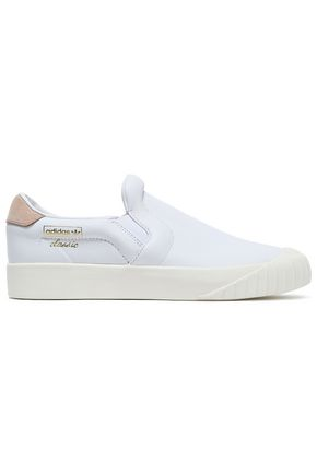 ADIDAS ORIGINALS Suede-trimmed leather slip-on sneakers