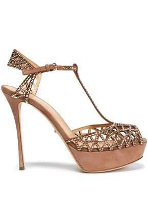 SERGIO ROSSI Embellished laser-cut suede platform sandals