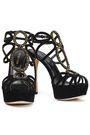 SERGIO ROSSI Crystal-embellished suede platform sandals