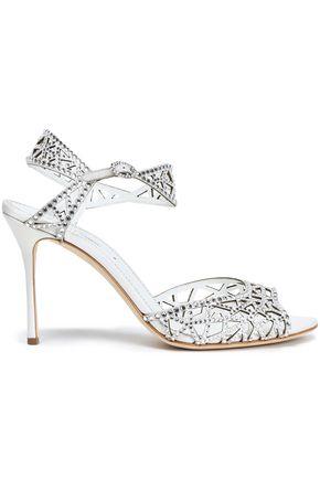 SERGIO ROSSI Embellished laser-cut suede sandals