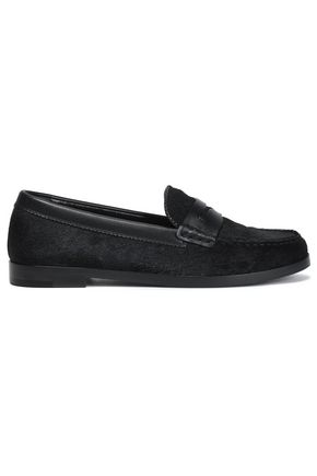 SERGIO ROSSI Leather-trimmed calf hair loafers