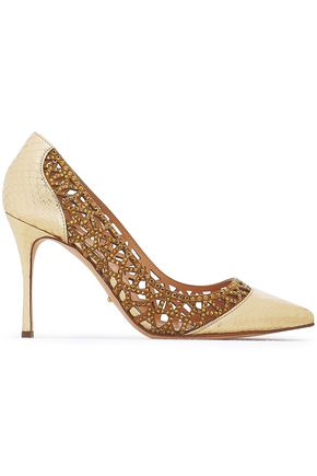 SERGIO ROSSI Embellished metallic elaphe and laser-cut suede pumps