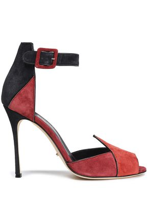Color Block Suede Sandals by Sergio Rossi
