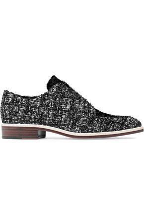 LANVIN Faux fur-paneled tweed brogues