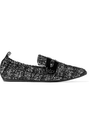 LANVIN Patent leather-trimmed tweed slippers