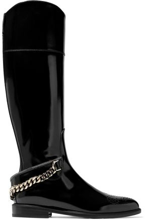 LANVIN Chain-trimmed laser-cut leather boots