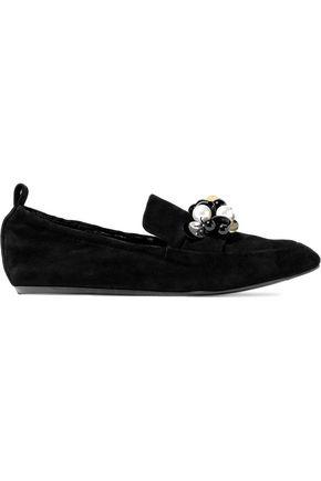 LANVIN Embellished suede slippers